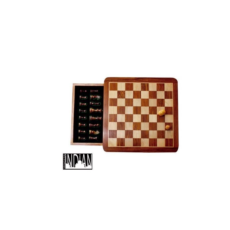 Jeu d'échecs magnétique tiroir 25x25 cm